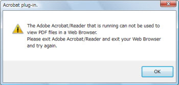 The Adobe Acrobat/Reader is running cant not be used to view PDF files in a Web Browser.